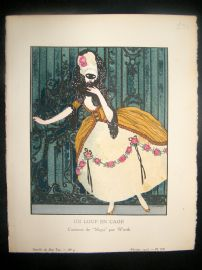 Gazette du Bon Ton by Gose 1913 Art Deco Pochoir. Un Loup en Cage